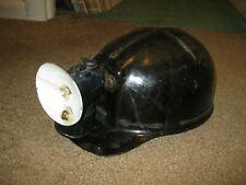 Vintage Fiberglass Coal Miner Hard Hat/Helmet With Justrie Lamp