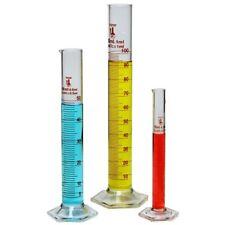Glass Beaker Measuring Graduated Lab Scientific Cylinder 3 Piece Set 10,50,100Ml
