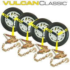 "(4) 2"" CHAIN RATCHETS & Lasso Straps Tow Truck Wrecker Car Hauler - Bundle"