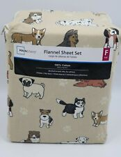 Mainstays Beige Dog Graphic Flannel Sheet Set Full Size NEW
