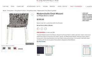 """Philippe Starck for Kartell~4 x """"Mademoiselle Chairs""""~Missoni textile"""