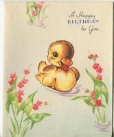 VINTAGE CUTE YELLOW DUCK DUCKLINGS  SMILE SWIMMING FLOWER BIRTHDAY GREETING CARD