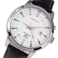 Seiko Mens Analog White Dial Leather Strap Casual Kinetic GMT Watch SUN035P1