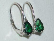 Gorgeous Green Tsavorite Pear Shaped Leverback Earrings 10K White Gold