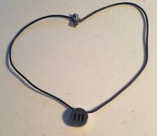 necklace 3 black lines round pendant Mens Ed Force Steel Corded Stainless steel