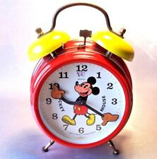 MICKEY MOUSE WIND-UP ALARM CLOCK VINTAGE RED AND YELLOW GERMANY