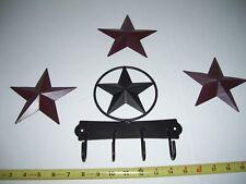 RUSTIC WESTERN DECOR KEY HANGER & 3 STAR 5 INCH Wall Barn  Cowboy Texas Decor