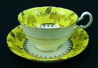 Royal Grafton Cup and Saucer Yellow Band Gold Flowers Trim Bone China England
