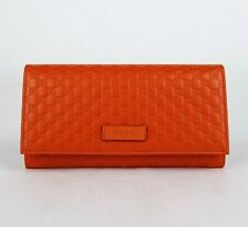 Gucci Sun Orange Leather Microguccissima Flap Long Wallet 449396 7527