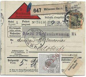 1913 GERMANY TO ROMANIA PARCEL POST PERFIN UPRATE ROMANIA REVENUE RAILWAY CANCEL