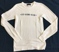 Womens White Thermal Long Sleeve Tee With Inspirational Graphic On Chest Sz S
