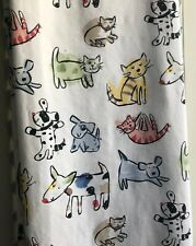 SHOWER CURTAIN 100% Cotton Colorful  Whimsical Dogs & Cats USA Made Oxford Bath