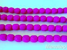 25 6mm Czech Glass Firepolish Beads: Neon - Orchid