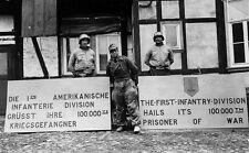 WWII B&W Photo US 1st Infantry Division 100,000th German POW WW2  / 1255