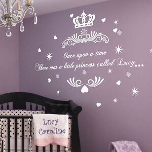 Personalised Once upon a Time Princess Name Art Wall Quotes Stickers Words decal