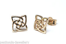 9ct Gold Celtic Stud earrings Gift Boxed Made in UK