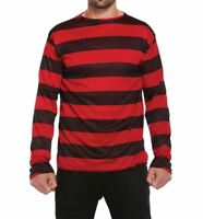 Mens Red and Black Striped Jumper Shirt Adults Novelty Fancy Party Wear Top