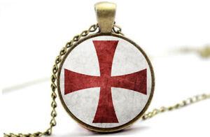 Knights Templar Cross - Vintage Antique Bronze Photo Glass Dome Necklace Pendant