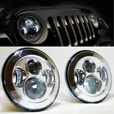 7 inch Chrome LED H4 Headlights for JK VW Beetle Classic Chevy Pickup Truck 3100