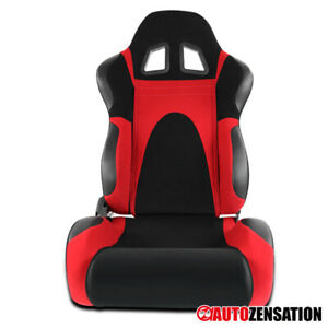 (Right Passenger Side) Black/Red Faux Suede PVC Leather Type-6 Sport Racing Seat