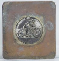 ANTIQUE AMA MOTORCYCLE RACING COPPER LIDDED WOODEN BOX MOTOCROSS INDIAN HARLEY
