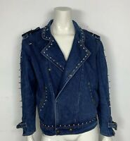 chiodo jacket jeans usato M borchie uomo donna coni metal vintage giacca T5480