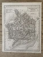 1833 MONMOUTHSHIRE ORIGINAL ANTIQUE COUNTY MAP BY SIDNEY HALL 186 YEARS OLD