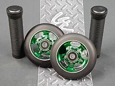 Green Pro Star Black Metal Core Scooter Wheels x2 + Grips + GK Grip Tape