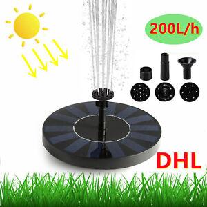 LED Wasserspiel Solarpumpe mit Akku Springbrunnen Pumpe Solar Teich Brunnen DHL