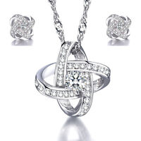 925 Sterling Silver Crystal Pendant Necklace Earrings Set Women Charm Jewelry