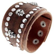 Brown Punk Cool Men Wide Studded Leather Skull Bracelet Cuff Wristband Bracelet