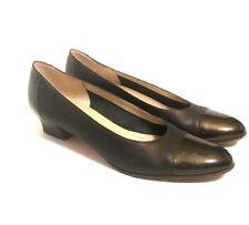 Salvatore Ferragamo Womens Boutique Bronze Hatched Cap Toe Pumps 9 3A Shoes