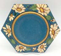 Folk Art Wood Plate Hand Painted Tole Blue with Daisies local Hobby Craft