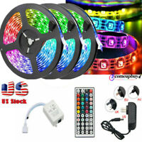 49FT/32FT RGB Flexible LED Strip Light 3528 SMD Remote Fairy Lights Room TV Bar