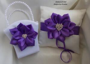 Wedding Ring Bearer pillow Flower Girl Basket Purple Handmade Satin Flowers