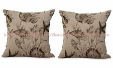 US SELLER- 2pcs marine nautical seashell cushion cover couch pillow slipcovers