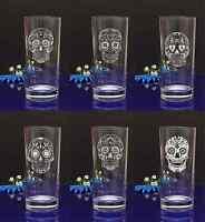 Personalised SUGAR SKULL engraved hiball glass for Birthday, Christmas gift#143