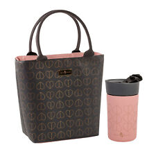 Beau & Elliot - Dove Grey Insulated Lunch Tote Bag & Pink Blush Travel Mug