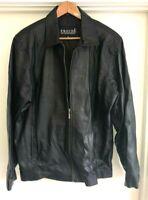 Men's Prouds Premium Lightweight Lambskin Black Leather Jacket sz XL