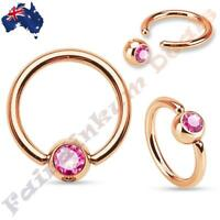 316L Surgical Steel Rose Gold Captive Bead Ring with Pink Gem Set Ball