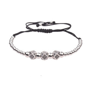 Luxury Men's Silver Micro Pave CZ Ball Crown Copper Braided Adjustable Bracelets