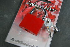 Liebesschloss rot + ihrer Gravur ,2. und 3.Wahl,Lackbeschädigungen