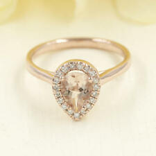 Pear Shaped Morganite Engagement Ring. 0.16ct High Quality Diamond Ring.