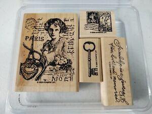 Stampin Up Wood Mount Set ~ Friendship's Journey ~ Vintage Key Paris