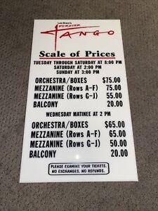 Luis Bravo Forever Tango Broadway Show Price List Board
