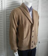 NEW Mens Size M ALPACA Wool Beige Khaki Shawl Collar Classic Cardigan Sweater