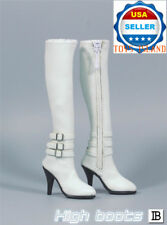 "1/6 High Heel Boots WHITE For 12"" PHICEN Hot Toy TBLeague Female Figure ❶USA❶"