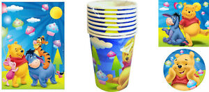WINNIE THE POOH 40 Piece Party Pack Plates Cups Loot Bags Napkins Birthday Kids