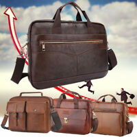 Men Genuine Leather Business Briefcase Handbag Laptop Shoulder Messenger Bag