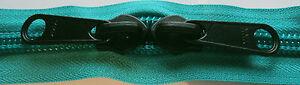 YKK Nylon Coil Zipper Tape #10 Peacock 1 yard with 2 Nickle Zipper Sliders